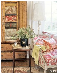 French Country Decorating Ideas! decor, chair, blanket, cottag, armoir, cabinet, quilts, french country, bedroom
