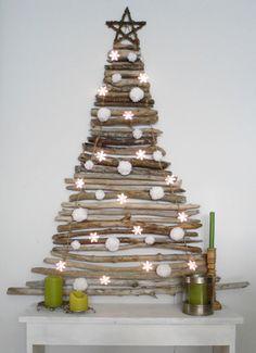 Christmas Tree made of sticks...lights up, too!