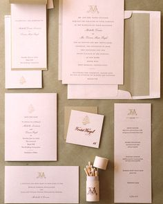 [Details]  < 2 of 27 >  Details    Each piece of the letterpress wedding stationary, from the save-the-date cards to the menus, is embellished with a fern icon or the couple's initials. The cream-colored paper is backed with green.