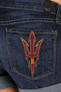 OCJ Apparel   Premium Collegiate Denim   Arizona State Sun Devils Cuffed Shorts Pitchfork in Deep Indigo   www.ocjapparel.com