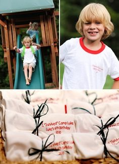So many cute ideas for a camping themed party. Especially love the shirt party favors.