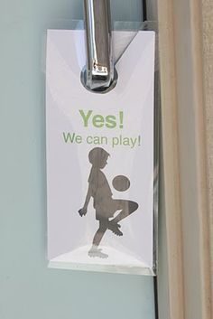 door hanger for neighborhood kids....lol I thought I was the only one who did this....The sign I made for Hunter goes on the door though not the knob and it has a clock to tell his friends when and if he can play that day. Makes life so much easier (=