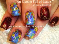 Nail-art by Robin Moses - Elegant fall of leaves