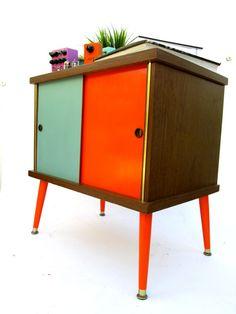 Mid Century Modern Cabinet / Credenza / Records| Bar Reliquary | Orange  Turquoise Reverse Split Doors Vintage Mod Decor