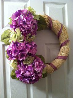 Purple / Green Hydrangea Straw Wreath, Hydrangea Wreath, Straw Wreath, Spring Wreath