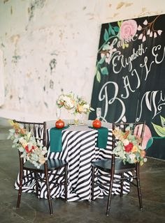 Sweetheart table | Gold + Striped South Carolina Wedding « Southern Weddings Magazine
