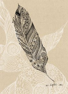 Light and dark value lines on mid tone surface. Tattoo Ideas, Feather Art, Art Prints, A Tattoo, Feathers, Light, Feather Tattoos, Design, White Ink