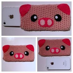 Cute pink pig crocheted cell phone cozy by THLdesigns on Etsy, $20.00