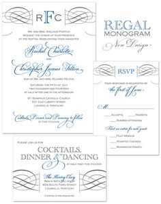 Regal Monogram Wedding Invitation | by The Green Kangaroo, Inc.