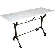 French Bistro Console Table with Cast Iron Base and Marble Top | 1stdibs.com