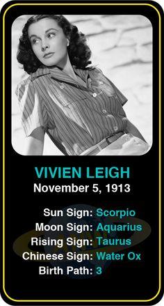 Celeb #Scorpio birthdays: Vivien Leigh's astrology info! Sign up here to see more: https://www.astroconnects.com/galleries/celeb-birthday-gallery/scorpio?start=60  #astrology #horoscope #zodiac #birthchart #natalchart #vivienleigh