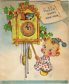 Too cute! #vintage #cards #holidays #New_Years