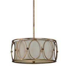 Uttermost Ovala 3-Light Gold Drum Pendant