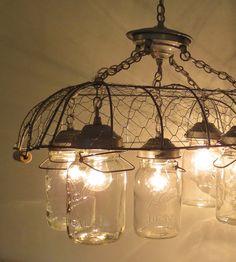 Union. Original CHICKEN WIRE Vintage Inspired 5-Lite Jar CHANDELIER on Etsy, $300.00