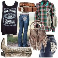 Absolutely rocking fall #outfit combination. Hate the boots, love the outfit. Cowgirl boots have to be a worn, soft brown for me even consider them. That tacky shiny, colorful crap just takes away from the country feeling!! ~P