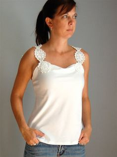 Upcycled Doily Tank Top Bamboo Jersey by caseclothed on Etsy, $25.00