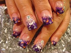 HALLOWEEN Young nails acrylic skulls, purple, acrylics, skeletons, nail arts, nail acryl, young nail, october, halloween nails