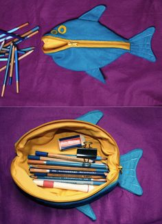 Fishy pencil case. I love how it opens up like that - so much easier to see everything inside