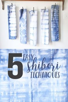 Learn 5 Easy Shibori Techniques to try at home! Make cloth napkins, pillow covers, linen towels, and more in an array of beautiful patterns and simple tie dye designs. #shibori #crafts
