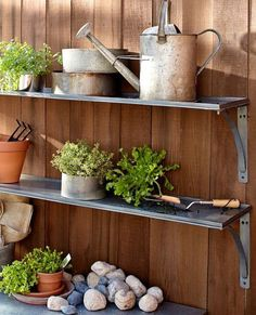Galvanized metal shelves