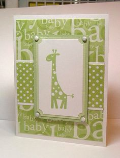green giraffe baby card by paperprincess1973 - Cards and Paper Crafts at Splitcoaststampers