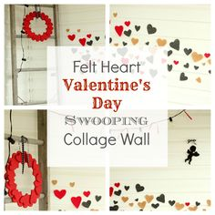 A swooping collage design made out of felt hearts stuck to the wall with a plain glue stick at The Creek Line House.