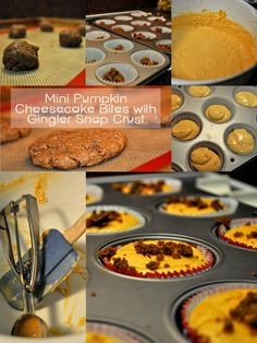 Pumpkin Mini Cheesecake Bites with Ginger Snap Cookie Crust.. OH YES!