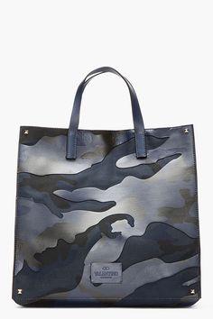 VALENTINO BLUE & black leather-paneled CAMOUflage TOTE
