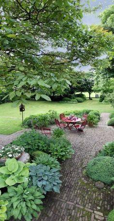 patio garden with hosta...