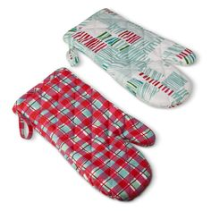 Accessorize your cookie baking party with these patterned oven mitts.