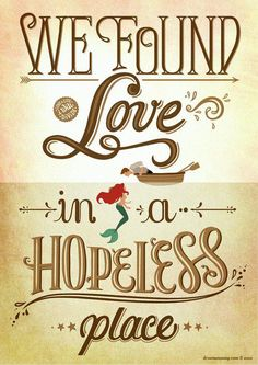 disney movies, song, lyric, hopeless place, disney princesses, poster, the little mermaid, places, quot