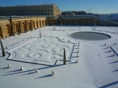 Versailles palace orangerie in the snow