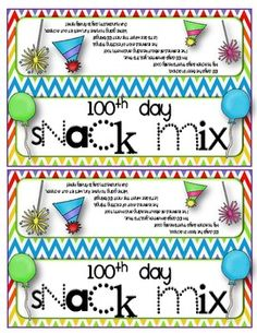 100th Day of School snack mix bag toppers