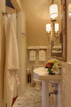 a small narrow bathroom