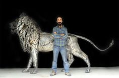 A lion made of 4,000 pieces of hammered metal. Made by Selcuk Yilmaz