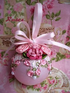 Victorian Shabby Christmas Ornament Venise Lace Pink Cabbage Roses Pearls