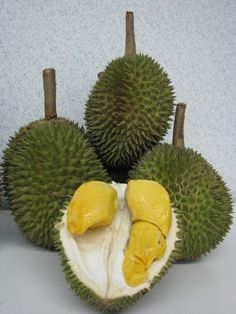 I hesitantly tried a tiny amount of durian and it wasn't too bad. Next time I will try a larger piece. Durian smells like rotten garbage/feet and some have said it tastes like rotten onions. It is known as the smelliest fruit in the world!!!