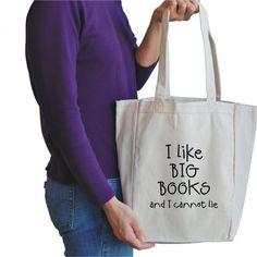 i like big books canvas tote bag. $15,00, via Etsy.