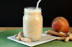 Apple, Peanut Butter, Cinnamon Oatmeal Smoothie *Oats *Chia seeds *Milk (nondairy) *Yogurt (nondairy) *Unsweetened applesauce *PB2 (or any nut/seed butter) *Cinnamon *Honey