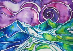 """""""seascape water color- wet-on-wet technique"""""""
