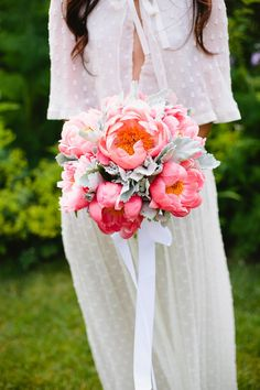 Gorgeous bouquet of Coral Peonies and Dusty Miller #Wedding #Flowers