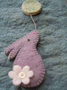 Moongazing Hare Felt Easter Decoration  Grey
