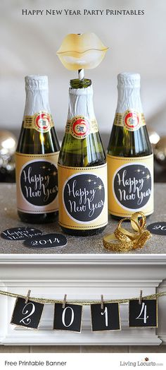 New Years Eve Party Ideas with Free Printable 2014 Happy New Year Coloring Sheet. LivingLocurto.com