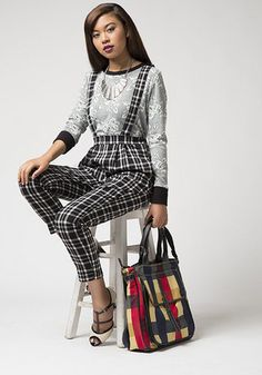 Mix patterns like a pro with this easy and chic outfit idea! Featured in this outfit: Sunday Off Sweatshirt, Hep Hopper Heel, Vogue Verve Necklace, Just Go With It Tote, Camp Director Tote in Plaid (similar), Letterpress Layout Pants #plaid #lace #fallfashion #chic #suspenders