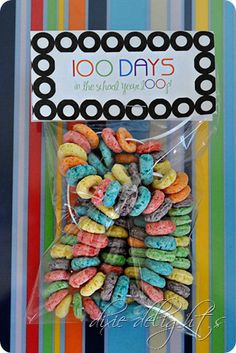 100th Day of School Fruit Loop Necklaces with Free Printable tag