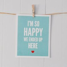 Love art print So happy turquoise/red 8 x 10 by GraphicAnthology, $18.00