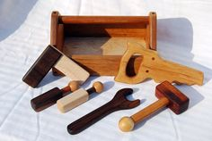 Heirloom Children's Wooden Toy Tool Set with Toolbox - All Hardwoods