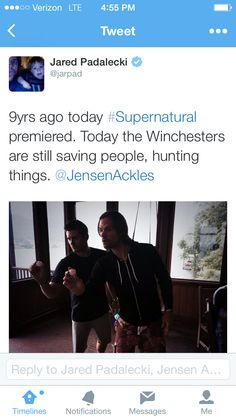 Jarpad tweeting on 9/13/2014 with a photo from the Ackles home in Austin