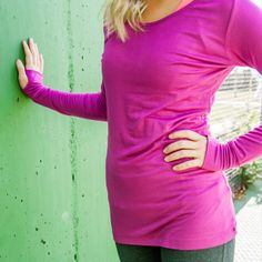 Berry Beautiful. Fuchsia top with thumb-holes! Albion Fit.