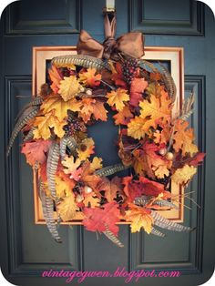 Fall Front Door -- I love the feathers!!